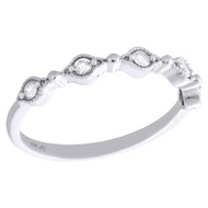 10K White Gold Diamond Anniversary Ring Stackable Milgrain Wedding Band 1/8 CT.
