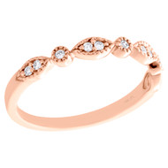 14K Rose Gold Diamond Anniversary Ring Stackable Milgrain Wedding Band 1/10 CT.