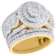 10K Yellow Gold Diamond Halo Flower Engagement + Wedding Ring Bridal Set 2.75 CT