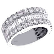 14K White Gold Tapered Baguette & Round Diamond 3 Row Women's Wedding Band 3 CT.