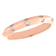 14K Rose Gold Diamond Knife Edge Bevel Wall Ladies Wedding Band 0.10 CT.
