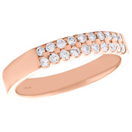 14K Rose Gold Round Diamond 2 Row Prong Set Ladies Wedding Band 0.25 CT.