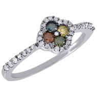 Multicolor Diamond Promise Engagement Fashion Ring 10K White Gold 0.38 Ct.