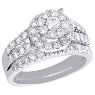 10K White Gold Flower Set Diamond Tiered Halo Engagement Ring Bridal Set 1.75 Ct
