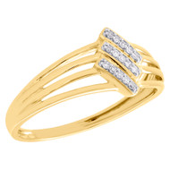 Womens 10K Yellow Gold Real Diamond Split Shank Engagement Promise Ring 1/20 CT.