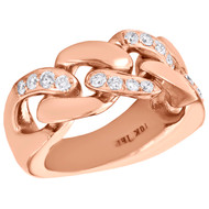 10K Rose Gold Round Diamond Solid Miami Cuban Link Pinky Ring 11mm Band 0.82 CT.