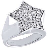 10K White Gold Round Diamond Star Shape Frame Pinky Ring 20mm Mens Band 0.93 CT.