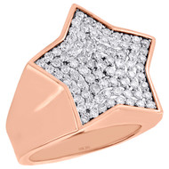 10K Rose Gold Round Diamond Star Shape Frame Pinky Ring 24mm Mens Band 1.70 CT.