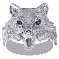 10K White Gold Blue Sapphire Gemstone Texture Wolf Frame Statement Ring 0.10 CT.