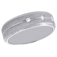 10K White Gold Mens Diamond Wedding Band 3 Stone Brushed Finish Ring 0.13 CT.