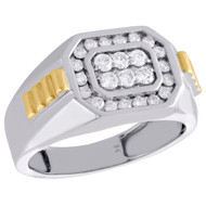 10K White Gold Diamond Step Shank Channel Set 12mm Band Men's Pinky Ring 5/8 CT.