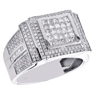 10K White Gold Princess Cut Men Diamond Pinky Ring Square Tier 14mm Band 1.63 CT