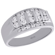 10K White Gold Round Diamond Mens Wedding Band Tier Design Engagement Ring 1 Ct.