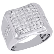 10K White Gold Diamond Dome Puff Pillow Style Statement 17mm Pinky Ring 2 CT.