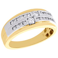 10K Two Tone Gold Diamond 9mm Staggered Wedding Band Channel Set Ring 1/2 CT.