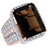 10K Rose Gold Real Diamond & Smoky Quartz Emerald Mens Pave Pinky Ring 2.50 CT.