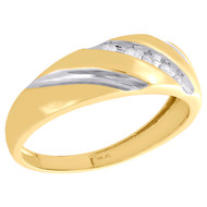 10K Two Tone Gold Round Diamond 1 Row Mens Wedding Band Engagement Ring 1/10 Ct.