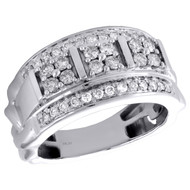 10K White Gold Round Diamond Domed Mens Statement Pinky Ring Wedding Band 1 CT.