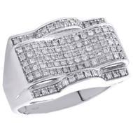 10K White Gold Mens Genuine Diamond Statement Pave Pinky Ring 15mm Band 3/4 CT.
