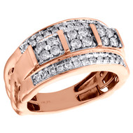 10K Rose Gold Round Diamond Domed Mens Statement Pinky Ring Wedding Band 1 CT.