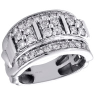 10K White Gold Round Diamond Domed Mens Statement Pinky Ring Wedding Band 2 CT.