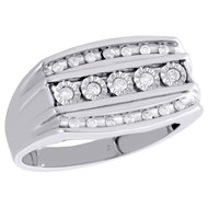 10K White Gold Real Diamond Channel Set Wedding Band 12mm Engagement Ring 1/4 CT