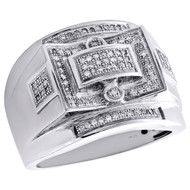 10K White Gold Mens Genuine Diamond Statement Pave Pinky Ring 18mm Band 0.35 CT