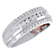 10K White Gold Mens Round Cut Diamond Wedding Engagement Band 8mm Ring 1/2 CT.