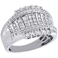 10K White Gold Mens Genuine Diamond Statement Pinky Ring 15mm Wedding Band 1 CT.