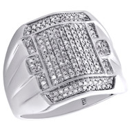 10K White Gold Mens Genuine Diamond Statement Pave Pinky Ring 19mm Band 1/2 CT.