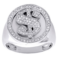 10K White Gold Mens Diamond Dollar Sign Money Pinky Ring 19mm Pave Band 1/2 CT.
