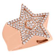 10K Rose Gold Genuine Diamond Super Star Statement Pinky Ring 23mm Band 0.98 CT.
