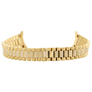Ladies 18K Yellow Gold Diamond Watch Band for Rolex DateJust President 1.22 CT.