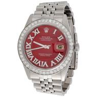 Mens 36mm Rolex DateJust 1601 Diamond Watch Jubilee Red Roman Numeral 2.75 CT.