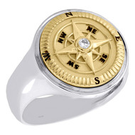 10K Two Tone Gold Round Diamond Compass Ring 18.50mm Mens Signet Band 0.06 CT.