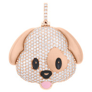 "10K Rose Gold Diamond Puppy Dog Emoji Pendant 1.70"" Enamel Pave Charm 2.75 CT."