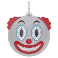 "10K White Gold Diamond Clown Face Emoji Pendant 1.80"" Enamel Pave Charm 0.80 CT."