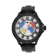 Men's Ice Mania IM3047 Genuine Diamond Black PVD World Map Dial Watch 0.08 CT.