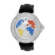 Men's Ice Mania IM3048 Genuine Diamond Silver Tone Color World Map Watch 0.08 CT