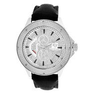 Men's Ice Mania IM3057 Genuine Diamond Silver Illusion Dial 50mm Watch 0.08 CT.