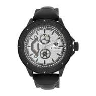 Men's Ice Mania IM3057 Genuine Diamond Black PVD Illusion Dial Watch 0.08 CT.