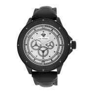 Men's Ice Mania IM3062 Genuine Diamond Black PVD Gear Track Dial Watch 0.08 CT.