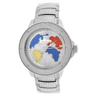 Men's Ice Mania IM3513MI Genuine Diamond World Map Dial Watch Metal Band 0.08 CT