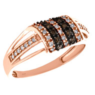 10K Rose Gold Brown Diamond Domed Rectangle Cocktail Right Hand Ring 1/3 CT.