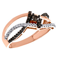 10K Rose Gold Brown Diamond Crossover Bypass Cocktail Right Hand Ring 0.25 CT.