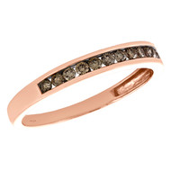 10K Rose Gold Brown Diamond Anniversary Ring Channel Set 3mm Wedding Band 1/4 CT