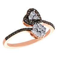 10K Rose Gold Brown Diamond Bypass Heart & Flower Cocktail Fashion Ring 0.20 CT.