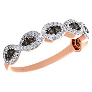 10K Rose Gold Brown Diamond Infinity Anniversary Band Right Hand Ring 1/4 CT.