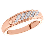 10K Rose Gold Genuine Round Diamond Wedding Band 6.50mm Mens Screw Ring 1/5 CT.