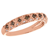 10K Rose Gold Brown Diamond Milgrain Antique Anniversary Band 4mm Ring 1/3 CT.